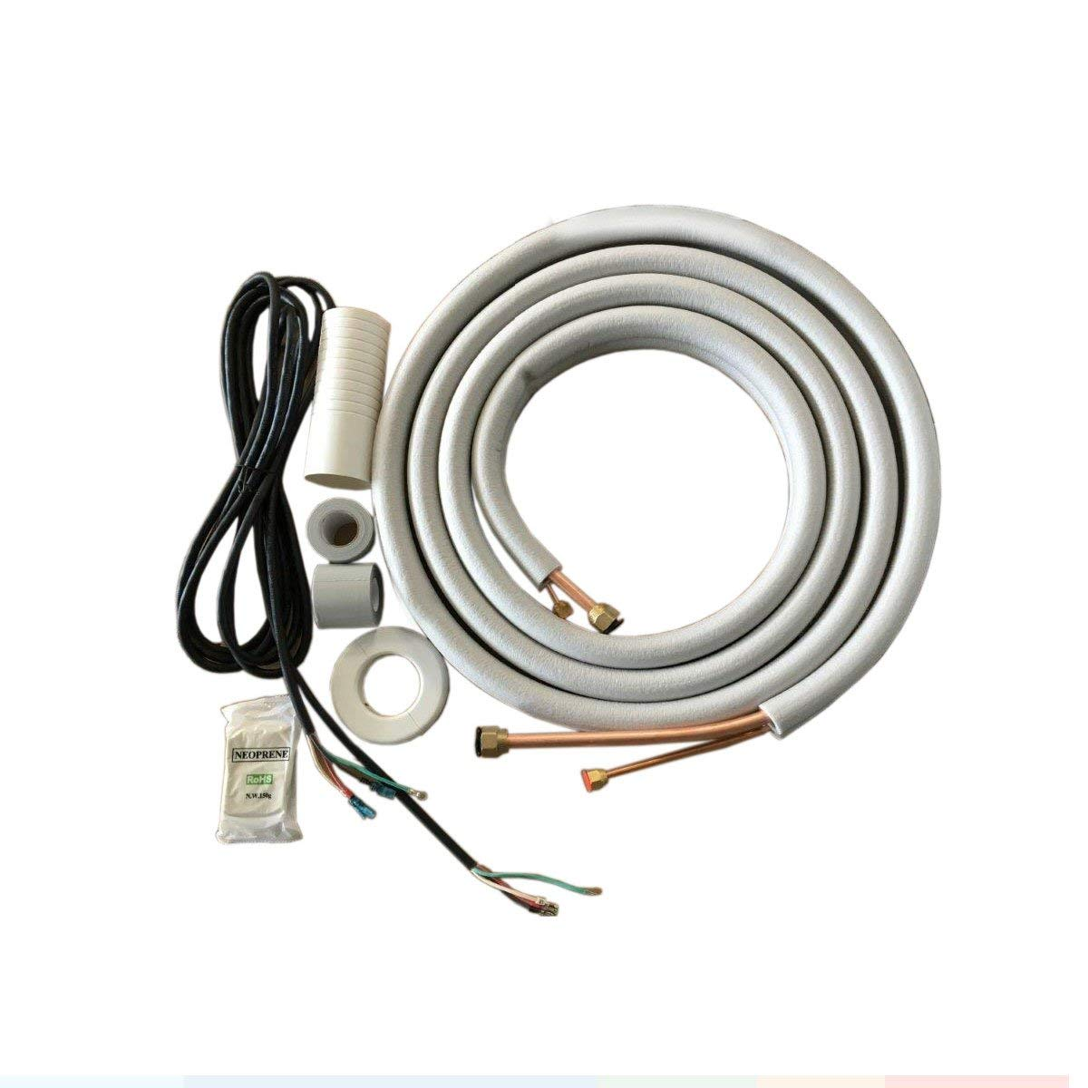 1 4 X 3 8 Pre Flared Insulated Copper Line Set Communication Wires Wiring Air Conditioner Ductless Mini Split Heat Pump Models 25ft Wire