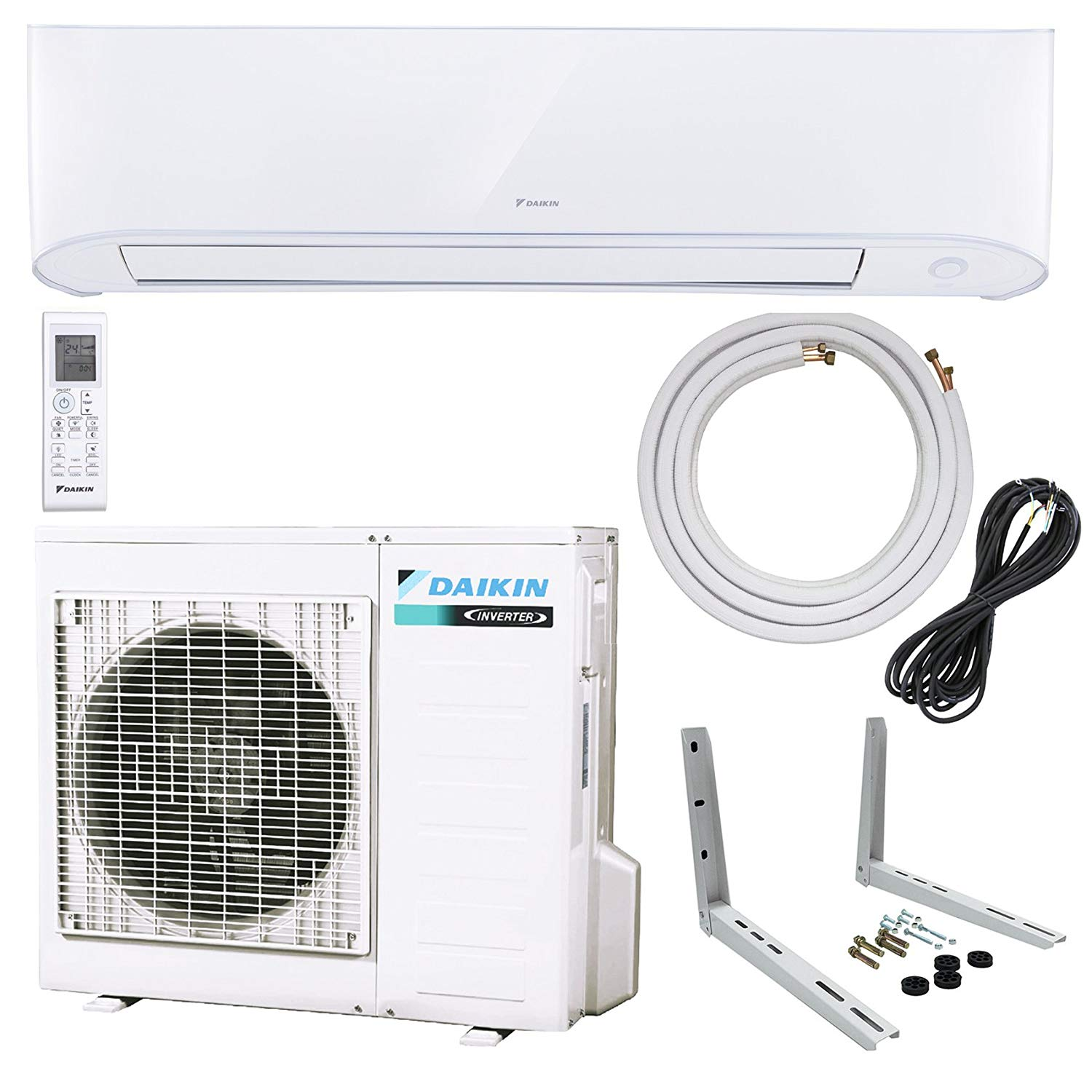 2457cd4b9 Daikin 17 Series Single Zone Wall-Mount Mini Splits – 17 SEER Select from 9000  BTU to 24000 BTU with Heat Pump – Includes Line Set and Bracket